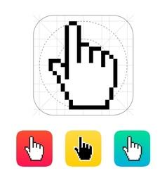 Pixel hand cursor icon vector