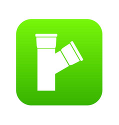 Plastic pipe connection icon digital green vector