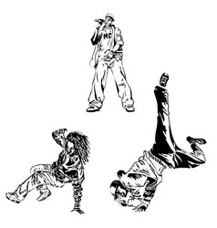 raper and street dancers on white background vector image
