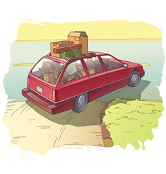 Red Station Wagon with a Cargo vector