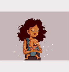 sad african mother holding crying baby vector image