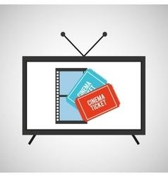 Screen tv movie cinema ticket strip film vector