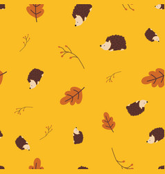 seamless pattern hedgehog woodland autumn vector image