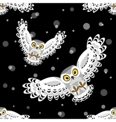 Seamless pattern with flying polar owls vector image