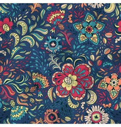 Seamless retro floral pattern with abstract vector