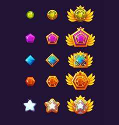 Set gems award progress golden amulets set with vector