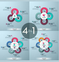 Set of 4 modern infographic design layouts vector