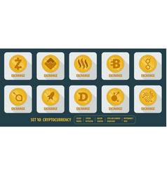 Set of different icons cryptocurrency vector