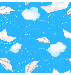 Ships planes and clouds vector image