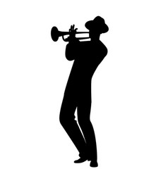 silhouette man wearing hat playing trumpet vector image