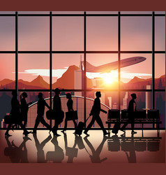 Silhouette people on airport background182 vector