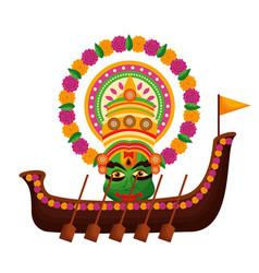 Snakeboat onam celebration design vector