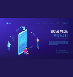 Social media messages isometric 3d landing page vector