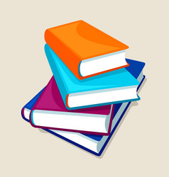 Stack of four books for education vector