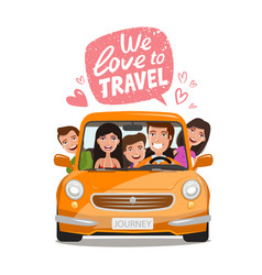 Travel journey concept happy family traveling by vector