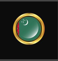 Turkmenistan flag golden button vector