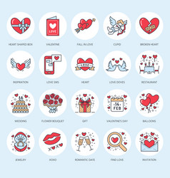 valentines day flat line icons love romance vector image
