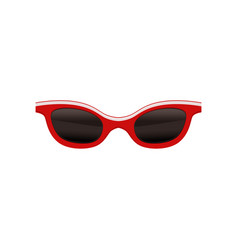 Vintage sunglasses with black lenses and red frame vector