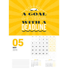 wall calendar template for may 2019 design print vector image