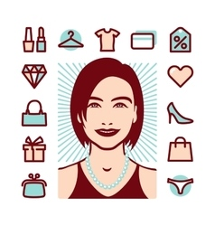 Woman things icons vector