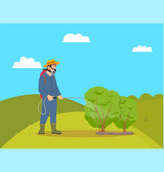 Worker with sprayer on hill vector