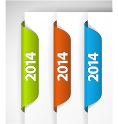 2014 Labels Stickers on the edge of the web page vector image