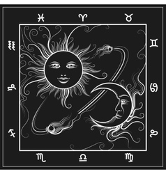 Astrology map with moon and sun vector image vector image