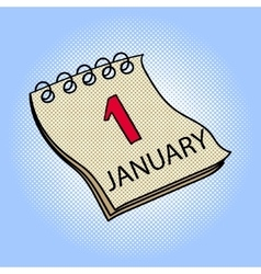 Calendar January 1 pop art vector image