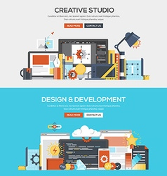 Flat design concept banner Creative studio and vector image vector image