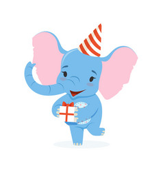 cute baby elephant in a party hat holding gift box vector image vector image