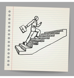Doodle businessman with briefcase walking upstairs vector image vector image