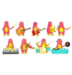 set of monsters playing music vector image vector image