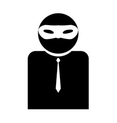 the man incognito in a mask the black color icon vector image