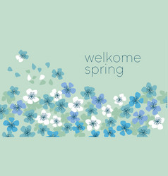 blue pastel color decorative cherry blossom vector image vector image