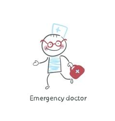 Emergency doctor runs vector image