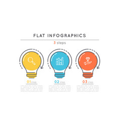 flat style 3 steps timeline infographic template vector image vector image