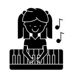 girl playing on piano icon vector image
