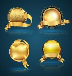 Gold badge ribbon set vector image vector image