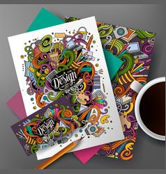 cartoon cute hand drawn doodles designer vector image vector image