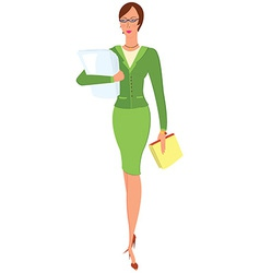 Cartoon woman in green suit holding papers vector image vector image