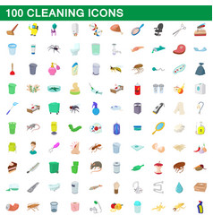 100 cleaning set cartoon style vector
