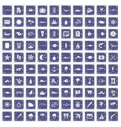 100 marine environment icons set grunge sapphire vector
