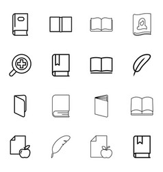 16 literature icons vector image