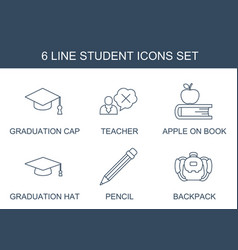 6 student icons vector