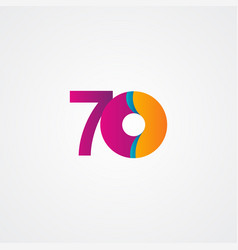 70 years anniversary celebration purple template vector
