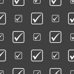 A check mark icon sign Seamless pattern on a gray vector image