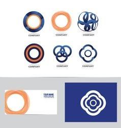 Abstract circle flower logo set vector