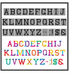 Alphabet in the abstract and retro style vector