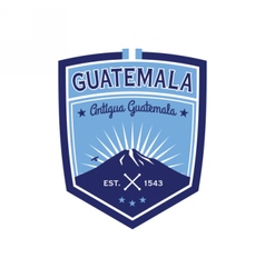 Antigua guatemala badge with volcano agua patch vector