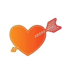 Arrow heart sign Orange applique isolated vector image